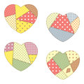 Patchwork hearts set of cute Royalty Free Stock Photography