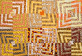 Patchwork in orange yellow and brown fabrics Royalty Free Stock Photography