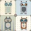 Patchwork with owls seamless background pattern Royalty Free Stock Photo