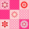 Patchwork pattern with flowers seamless Stock Photography