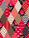 Patchwork pattern in red, gold, black and white colors. Polka dot, checkered, zigzag, floral patches in shape of rhombus.