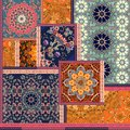 Patchwork pattern. Stylized flowers. Indian, arabic, moroccan motives. Ethnic print for fabric.
