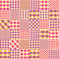 Patchwork of pink plaid scraps fabric seamless background pattern Royalty Free Stock Photography