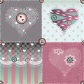Patchwork quilt with hearts and lace seamless background pattern will tile endlessly Stock Photography