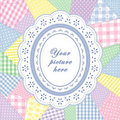 Patchwork Quilt, Oval Eyelet Lace Doily Frame Royalty Free Stock Photo