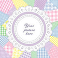 Patchwork Quilt, Round Eyelet Lace Doily Frame Royalty Free Stock Photo