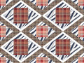 Patchwork seamless checkered pattern texture background with dec Royalty Free Stock Photo