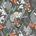 Patchwork seamless floral pattern  gray background Royalty Free Stock Photo