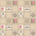 Patchwork seamless floral pattern ornament background Royalty Free Stock Photo