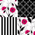 Patchwork seamless floral poppy pattern ornament background Royalty Free Stock Photo