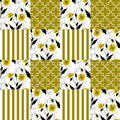 Patchwork seamless floral poppy pattern striped background Royalty Free Stock Photo