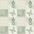 Patchwork seamless green pattern with flowers in vase hearts an and butterfly background Stock Photos