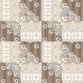Patchwork seamless lace floral pattern on beige Royalty Free Stock Photo