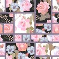 Patchwork seamless pattern with beautiful rose flowers. Collage Royalty Free Stock Photo