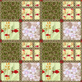 Patchwork seamless pattern with elements of flowers circles and fish background Royalty Free Stock Photos