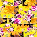 Patchwork seamless pattern with flowers in bright pink and yellow colors. Collage design Royalty Free Stock Photo