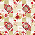 Patchwork seamless pattern texture background with decorative elements Stock Images