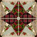 Patchwork seamless pattern texture background with roses and poppies Royalty Free Stock Image