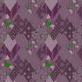 Patchwork seamless retro floral purple pattern background Stock Photo