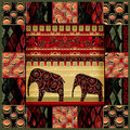 Patchwork seamless snake skin pattern with elephans Stock Image