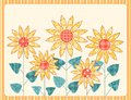 Patchwork sunflowers card. Royalty Free Stock Image