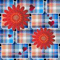Patchwork tartan plaid seamless pattern. Striped floral background. Geometric repeat checks backdrop. 3d tiled ornaments with red