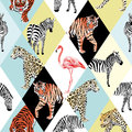 Patchwork tropical animals and bird multicolor background