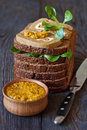 Pate delicious liver on rye bread with butter and mustard Stock Images