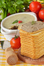 Pate, tomatoes and crackers. Stock Photos