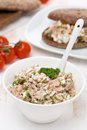 Pate with tuna homemade cheese and dill vertical Royalty Free Stock Photography