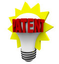 Patent Word on Light Bulb Royalty Free Stock Photography
