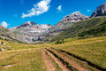 Path along high mountains in the spanish pyrenees Stock Images
