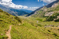 Path along high mountains in the spanish pyrenees Royalty Free Stock Images