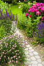 Path in blooming garden Royalty Free Stock Photo