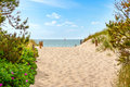 Path through dunes to the beach at the baltic sea near darsser ort mecklenburg vorpommern germany Stock Images