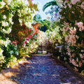 Path Of Flowers Royalty Free Stock Photo