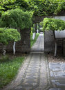 A path and a gate in a temple Royalty Free Stock Image