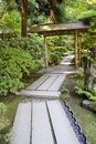 Path in japanese garden nice stone portland Royalty Free Stock Image