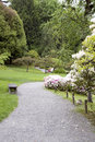 Path in japanese garden winding with flowers seattle Royalty Free Stock Images