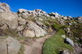 Path on lavezzi island corsica france between boulders islands Royalty Free Stock Photo