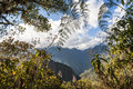 The path leading to machu picchu hill through mountains sacred valley peru Royalty Free Stock Photography