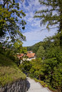 Path from mali grad in kamnik small stone road castle slovenia Stock Images