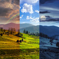 Path near field with haystacks day and night collage of composte landscape haystack on a green meadow in the mountains Royalty Free Stock Photography