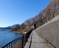 The path near lake in Kawaguchiko, Japan Royalty Free Stock Photo