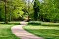 Path into a park winding leading area Royalty Free Stock Images
