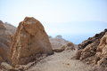 Path with Rocks & the Dead Sea, Ein Gedi Royalty Free Stock Photo