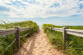 Path to the beach at basin head point east coastal drive prince edward island canada Royalty Free Stock Photo