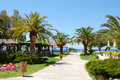 Path to beach luxury hotel halkidiki greece Royalty Free Stock Photos