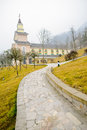 Path to church the paved stone on the slope of a mountainside leads a in chengdu china Stock Photography