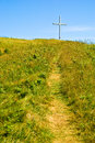 Path to the cross a mountain top magdalen islands iles de la madeleine quebec Royalty Free Stock Photo